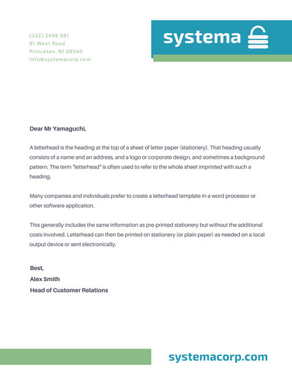 Blue Green Professional Company Padlock Letterhead - Templates by - professional letterhead