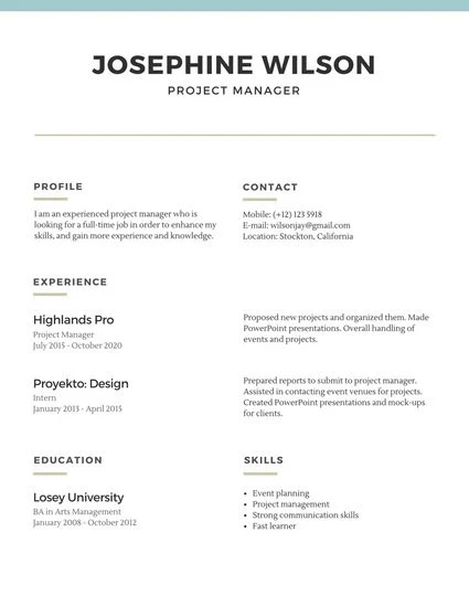 Blue Lines Simple Resume - Templates by Canva - how to do a simple resume for a job