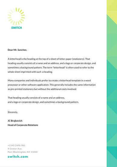 Teal Yellow Gradient Border Professional Letterhead - Templates by Canva