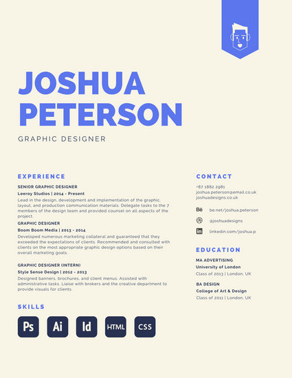 Large Blue Heading Designer Creative Resume - Templates by Canva - recommended font for resume