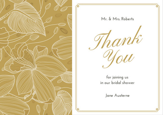 Brown Illustrated Bridal shower Thank You Card - Templates by Canva