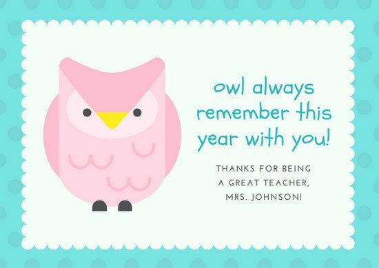Pink Blue Owl Polka Dots Teacher Cute Thank You Card - Templates by