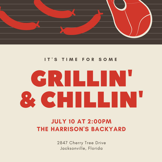 Red Grill and Chill BBQ Invitation - Templates by Canva