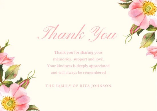 Green Rose Caroline Bush Funeral Thank You Card - Templates by Canva - funeral thank you note