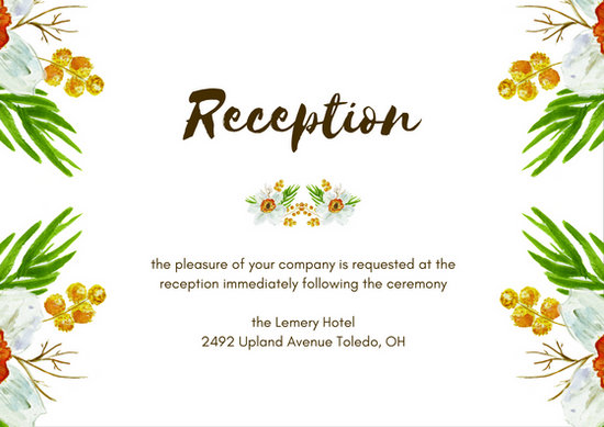 Cream Yellow Flowers Wedding Reception Card - Templates by Canva