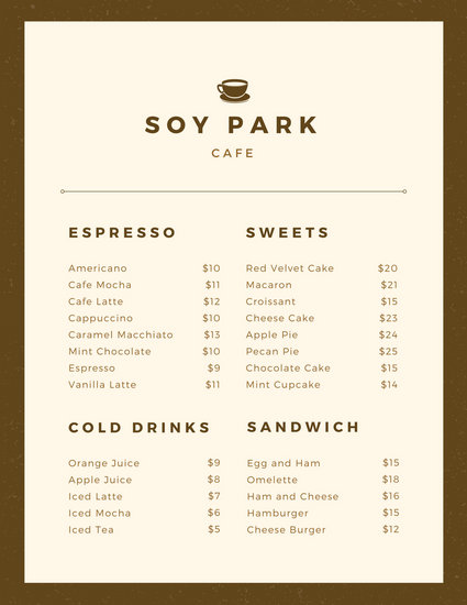 Customize 158+ Cafe Menu templates online - Canva - Cafe Menu Template