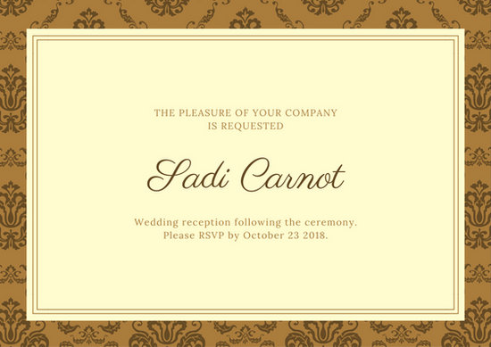 Wedding Reception Card Templates - Canva - invitation for funeral ceremony