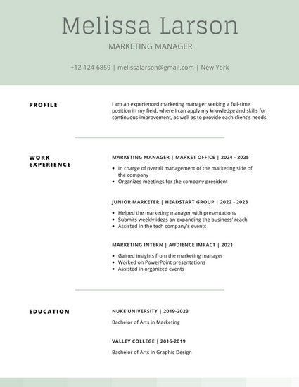 Moss Green Simple Resume - Templates by Canva - Simple Resumes Templates
