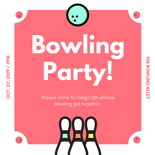 Turquoise Script Bowling Invitation - Templates by Canva