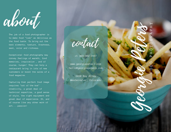 Turquoise Food Photography Trifold Brochure - Templates by Canva