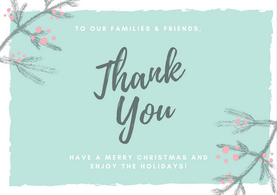 Teal Chalk Leaves Illustration Christmas Thank You Card - Templates