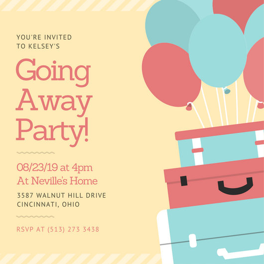 Pastel Luggage and Balloons Farewell Party Invitation - Templates by