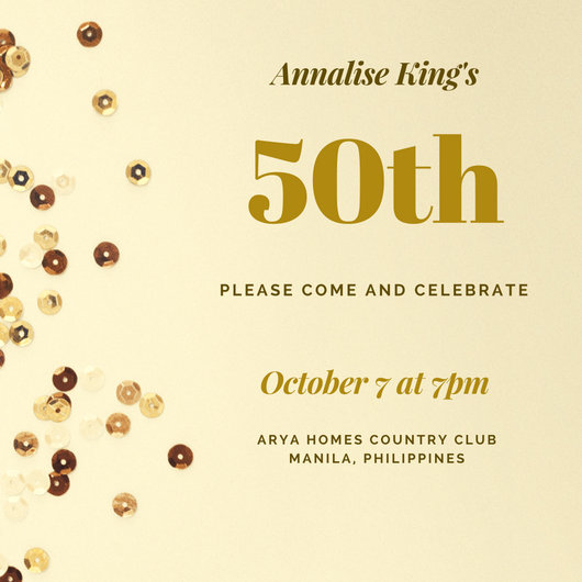 Gold Sequins 50th Birthday Invitation - Templates by Canva