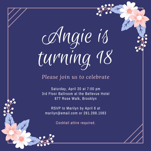 Mac Makeup Wallpaper Iphone Purple And Pink Flowers 18th Birthday Invitation