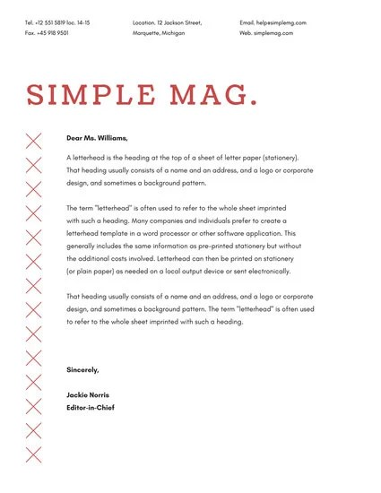 Red and White Magazine Official Letterhead (US) - Templates by Canva - official letterhead