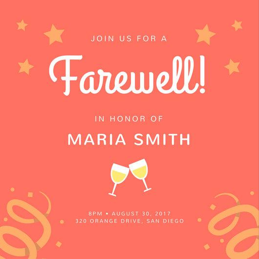 Orange Stars Farewell Party Invitation - Templates by Canva - farewell invitations templates