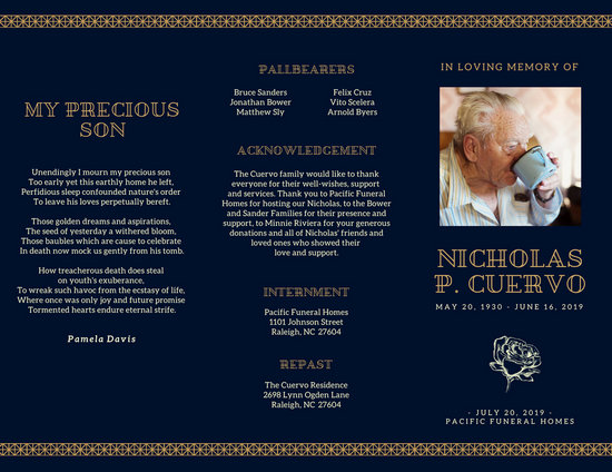 Dark Blue and Gold Funeral Brochure - Templates by Canva - funeral brochure template