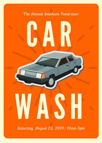 Orange Car Vintage Icon Car Wash Flyer - Templates by Canva - car wash flyer template