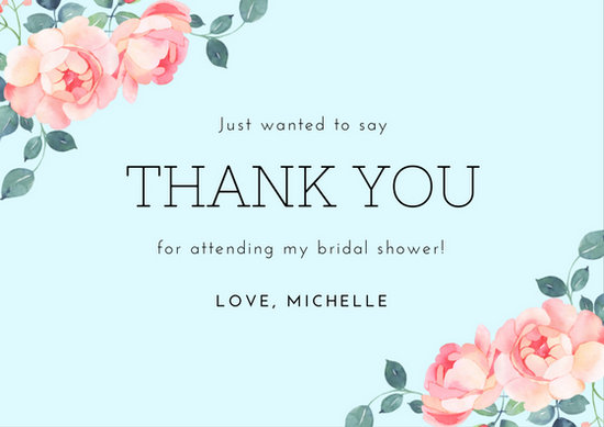Blue Floral Bridal Shower Thank You Card - Templates by Canva