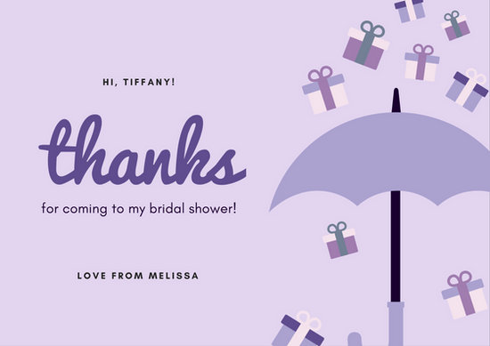 Purple Bridal Shower Thank You Card - Templates by Canva