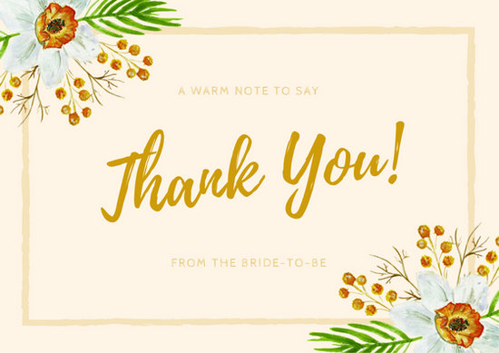 Pink Gold Floral Bridal Shower Thank You Card - Templates by Canva