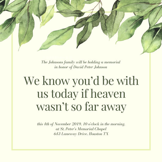 Green Leaves Illustration Quote Funeral Invitation - Templates by - invitation for funeral