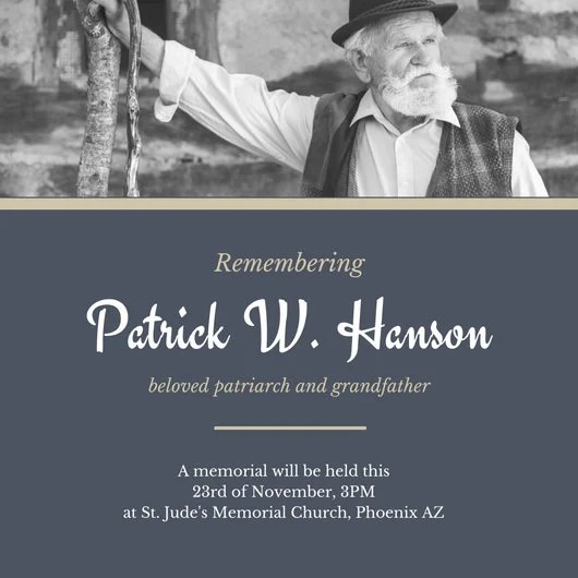 Blue Gold Old Man Funeral Invitation - Templates by Canva - invitation for funeral