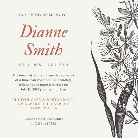Customize 40+ Funeral Invitation templates online - Canva