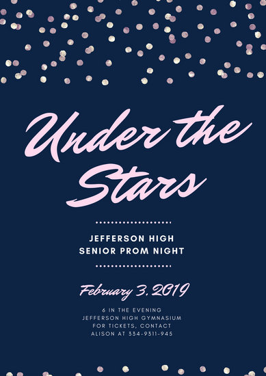 Pink Blue Sequins Stars Script Prom Night Poster - Templates by Canva