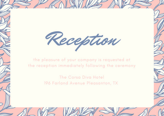 Pastel Blue and Pink Florals Wedding Reception Card - Templates by Canva