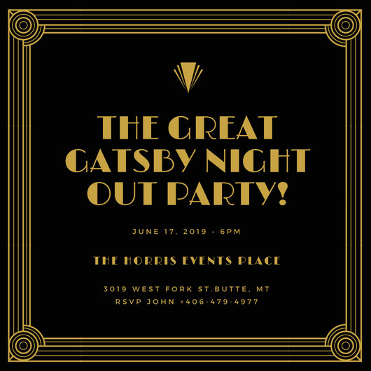 Musical Birthday Quotes Wallpapers Gold And Black Bordered Great Gatsby Invitation