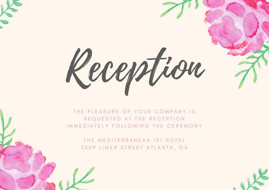 Pink Watercolour Flowers Wedding Reception Card - Templates by Canva