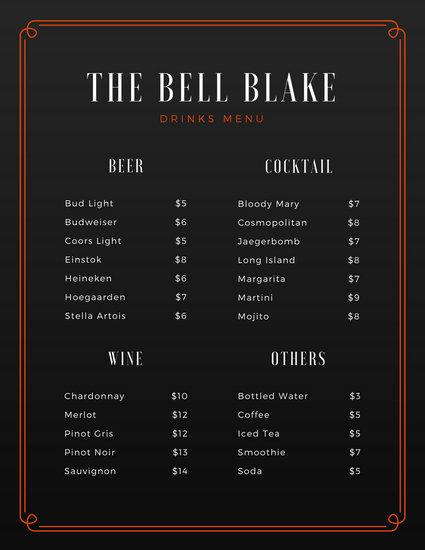 Customize 246+ Bar Menu templates online - Canva - drinks menu template