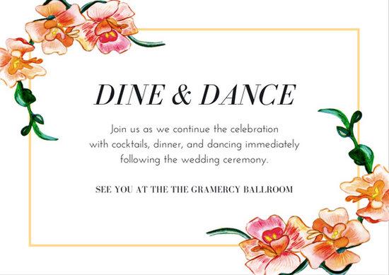 Orange Flower Border Wedding Reception Card - Templates by Canva