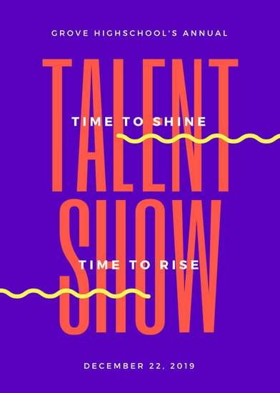 Purple and Orange Bold Talent Show Flyer - Templates by Canva - talent show flyer