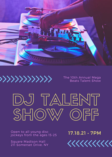 Purple Photo Talent Show Flyer - Templates by Canva