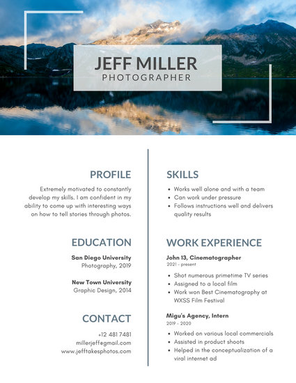 White with Photo on Top Photo Resume - Templates by Canva