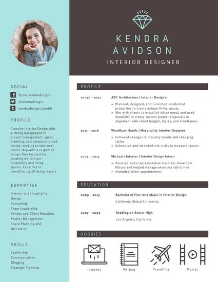 Brown and Turquoise Modern Resume - Templates by Canva