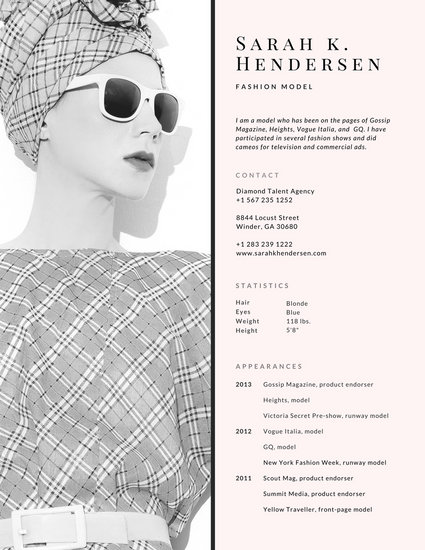 Light Pink Model Photo Resume - Templates by Canva