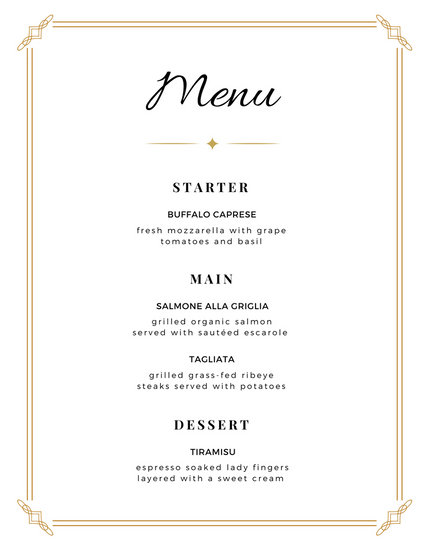 Wedding Bordered Minimalist Menu - Templates by Canva - wedding menu template