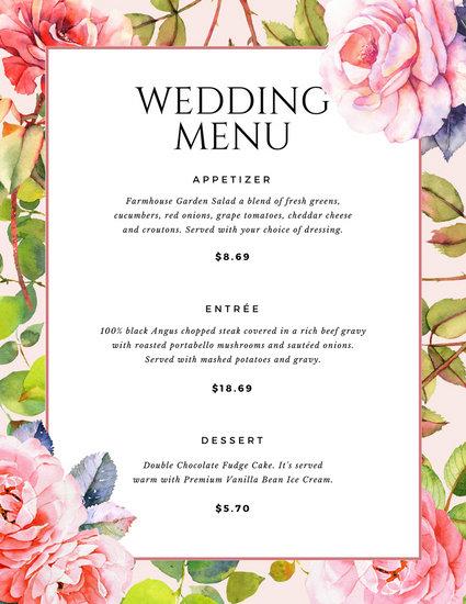 Customize 273+ Wedding Menu templates online - Canva - wedding menu template