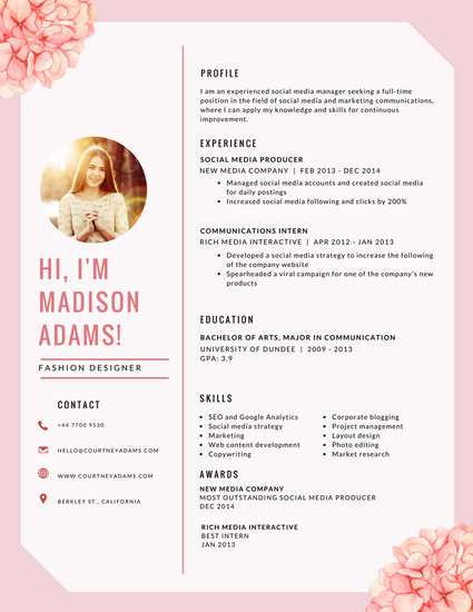 Pink Floral Infographic Resume - Templates by Canva
