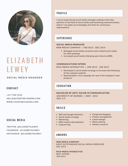 Feminine Modern Infographic Resume - Templates by Canva
