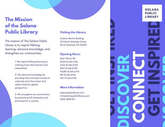 Public Library Purple Trifold Brochure - Templates by Canva - create tri fold brochure