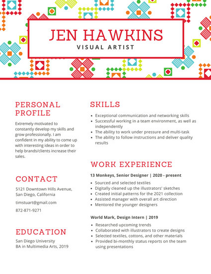 White with Colorful Textile Pattern Resume - Templates by Canva - visual artist resume 1