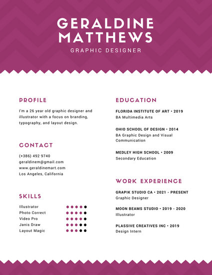 Red Violet with Chevron Pattern Infographic Resume - Templates by - tattoo artist resume