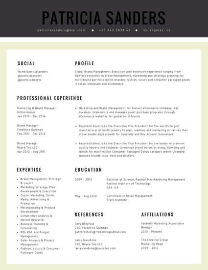 Cream Grey Marketing Professional Corporate Resume - Templates by Canva