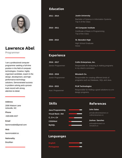 Red and Black Programmer Infographic Resume - Templates by Canva
