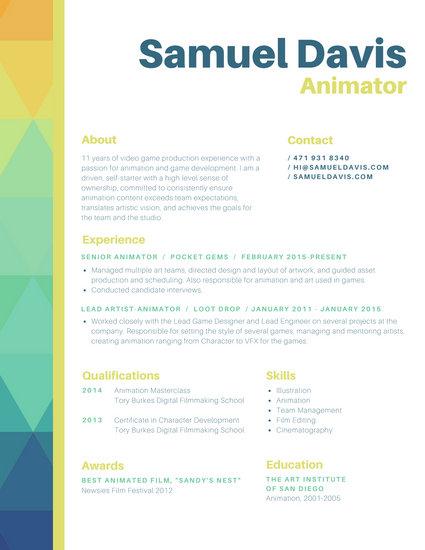 Orange Green Blue Animator Colorful Geometric Border Resume
