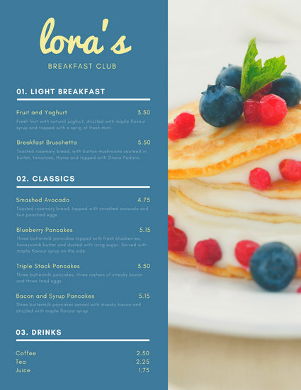 Pastel Blue and Pink Leaves Breakfast Menu - Templates by Canva